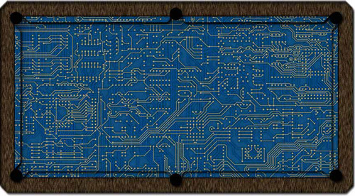 ArtScape Blue Circuit Board Pool Table Cloth