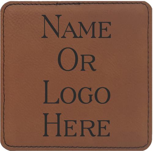 Leatherette Coaster Set of Six Square w/Holder - Rawhide