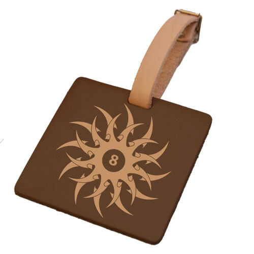 Leather Luggage Tag - Tribal 8-Ball (Square)