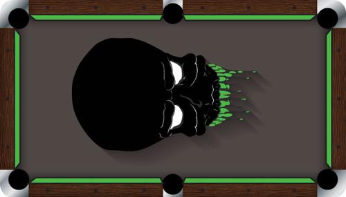 VIVID Alien Skull 9u0027 Pool Table Felt