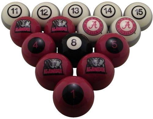 Alabama Crimson Tide Numbered Billiard Ball Set
