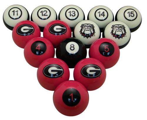 Georgia Bulldogs Numbered Billiard Ball Set