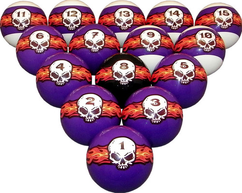 Flaming Skull Pool Ball Set