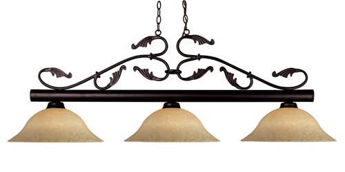 Bourbon Pool Table Light - Bronze with Golden Motte Glass Shade