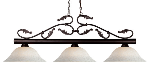 Bourbon Pool Table Light - Bronze with White Motte Glass Shade