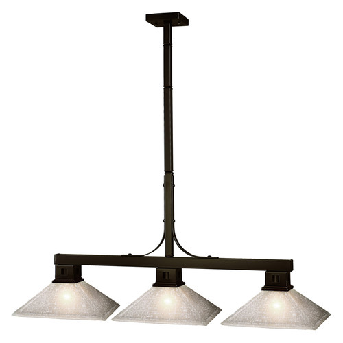 Flatwater Pool Table Light - Bronze with Mission White Linen Glass Shade