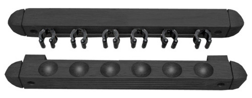 Roman-Style Two-Piece Wall Rack, Black, 6 Cue