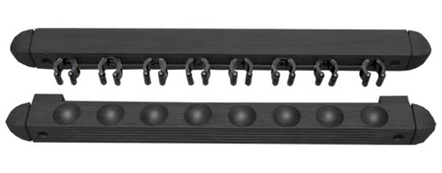 Roman-Style Two-Piece Wall Rack, Black, 8 Cue