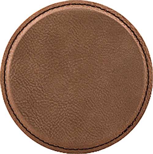 Custom Laser Engraved Round Leatherette Coaster- Dark