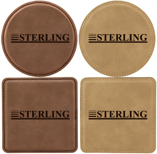 Set of Six Custom Laser Engraved Leatherette Coasters