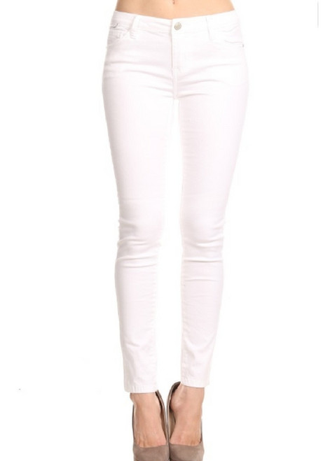 High Hem White Skinny Jeans - C202