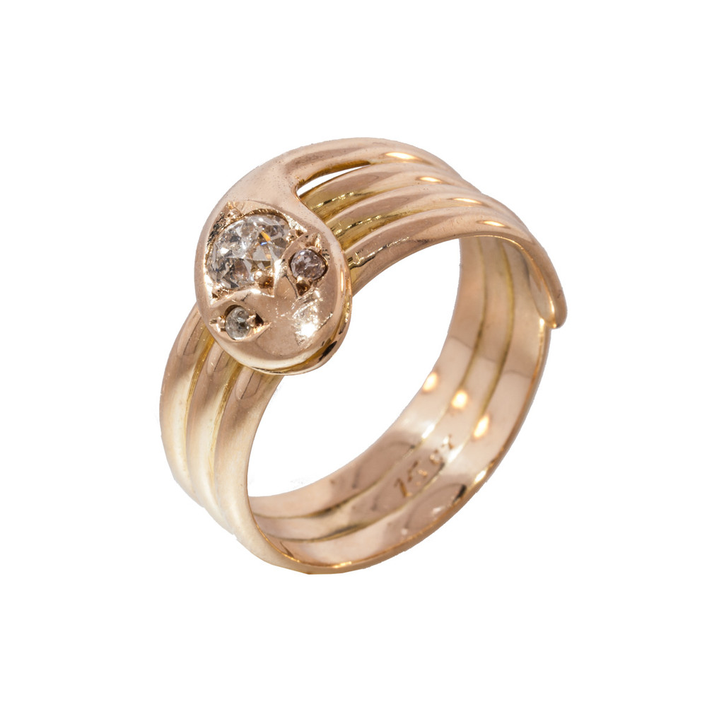 A Late Victorian Early Edwardian Diamond And Gold Snake Ring