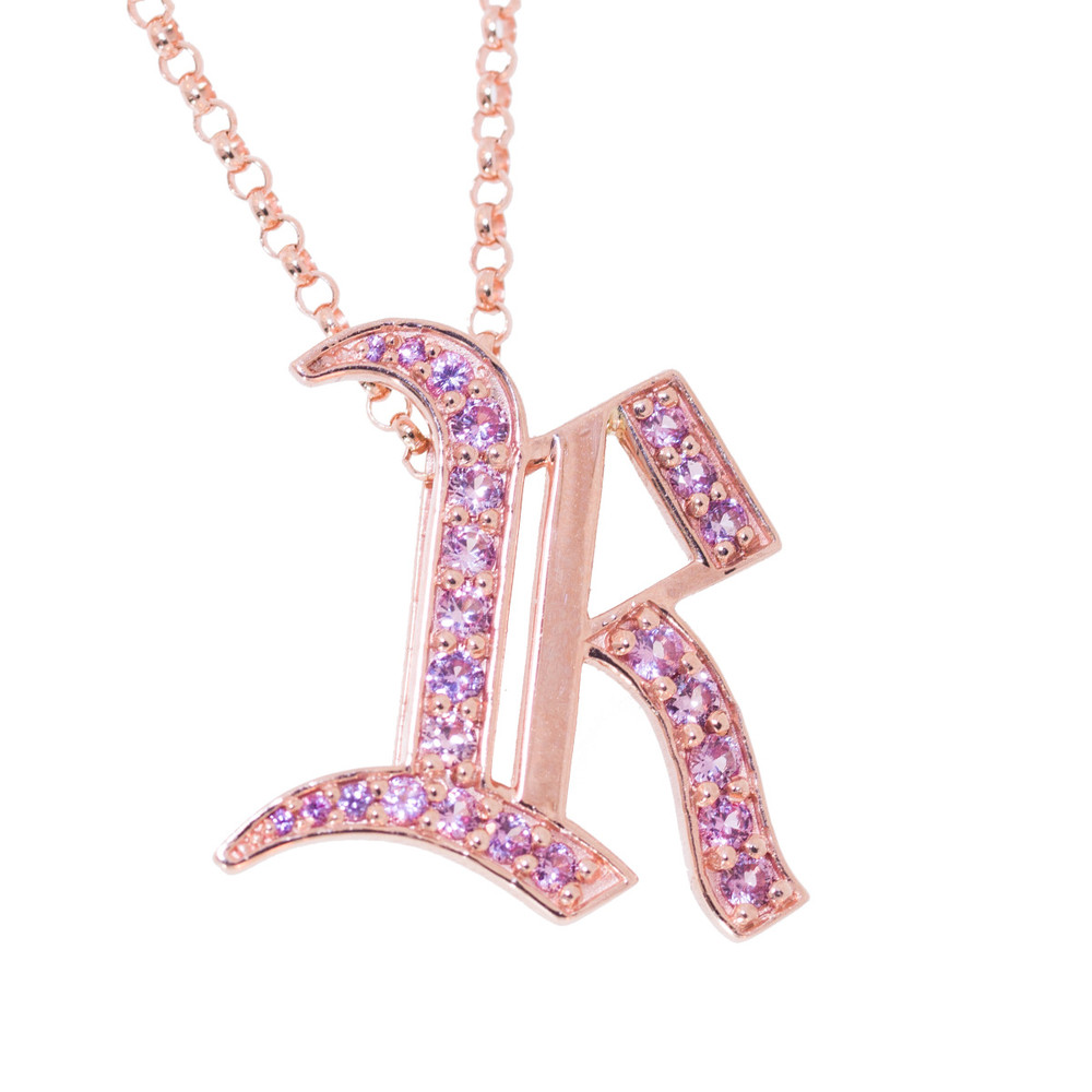 Gothic initial pendant in gold and sapphires sugar et cie rose gold initial pendant with pink sapphires aloadofball