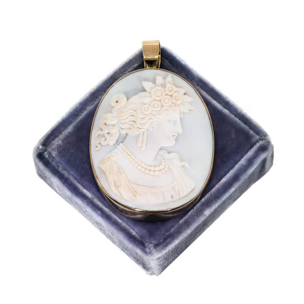 Antique Cameo Roman Goddess Flora in Pale Blue and Pink