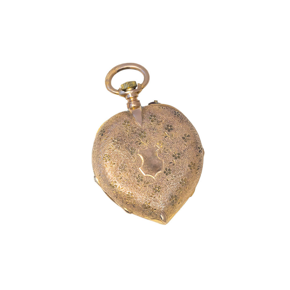 Heart Shaped Antique Gold Pocket Watch