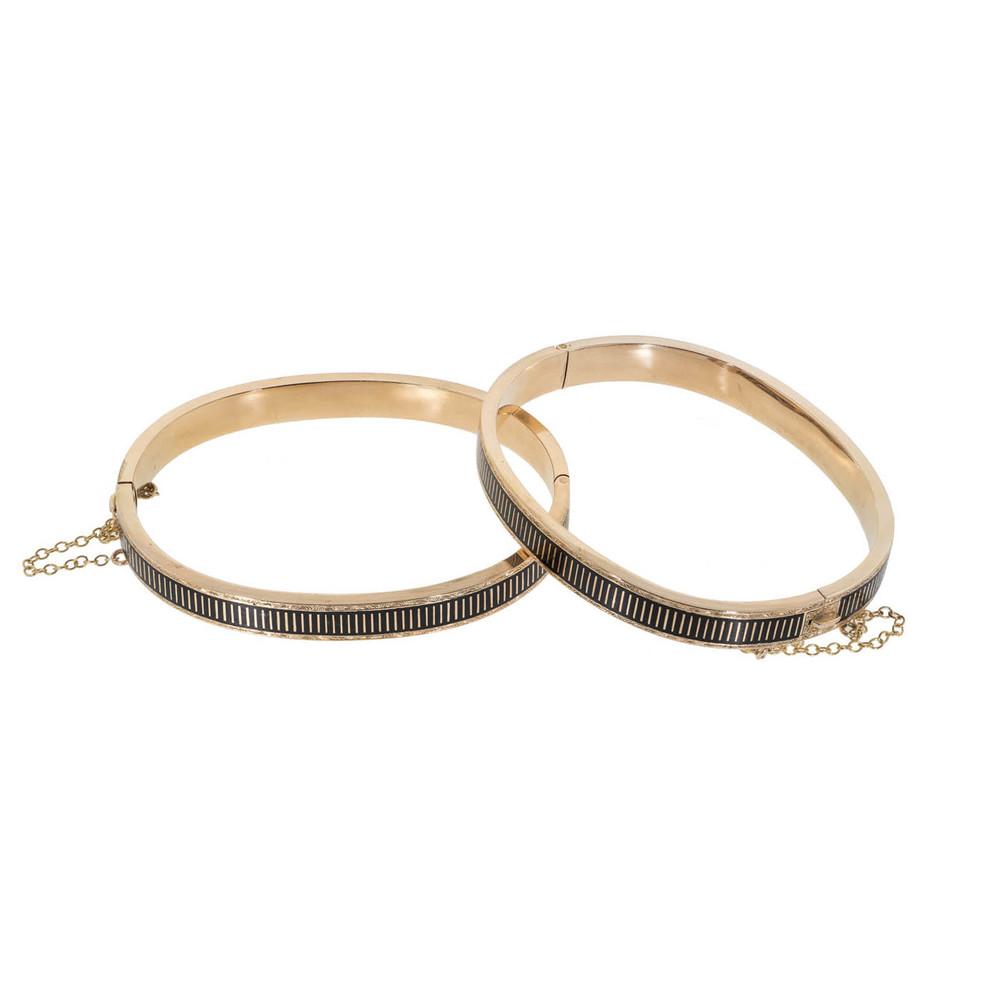 Pair of antique mourning gold bangle bracelets