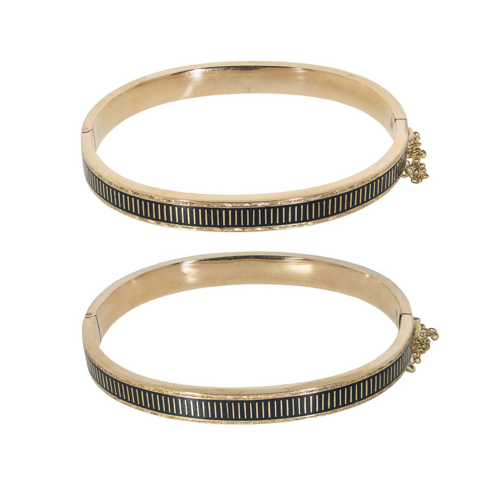 Pair of Victorian Enamel and Gold Bangle Bracelets