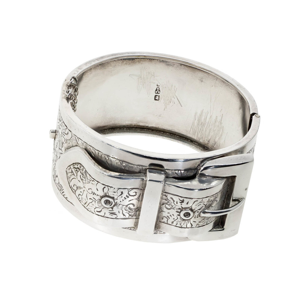 Antique English Victorian Silver Buckle Bangle
