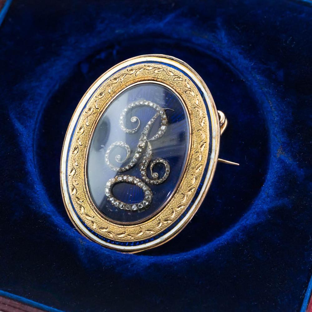 Antique Large Enamel & Diamond Initial R  Brooch, Love Token