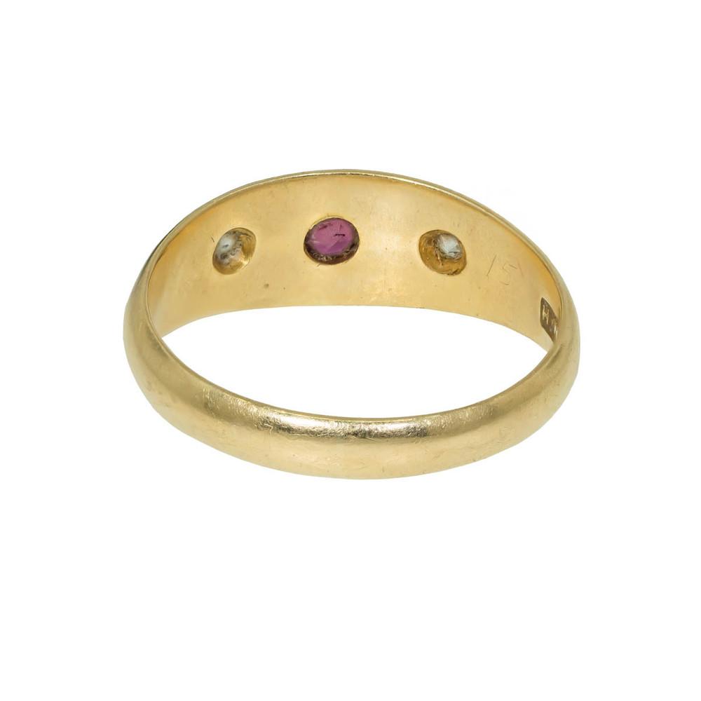 Antique Gypsy Set Ruby & Diamond Ring