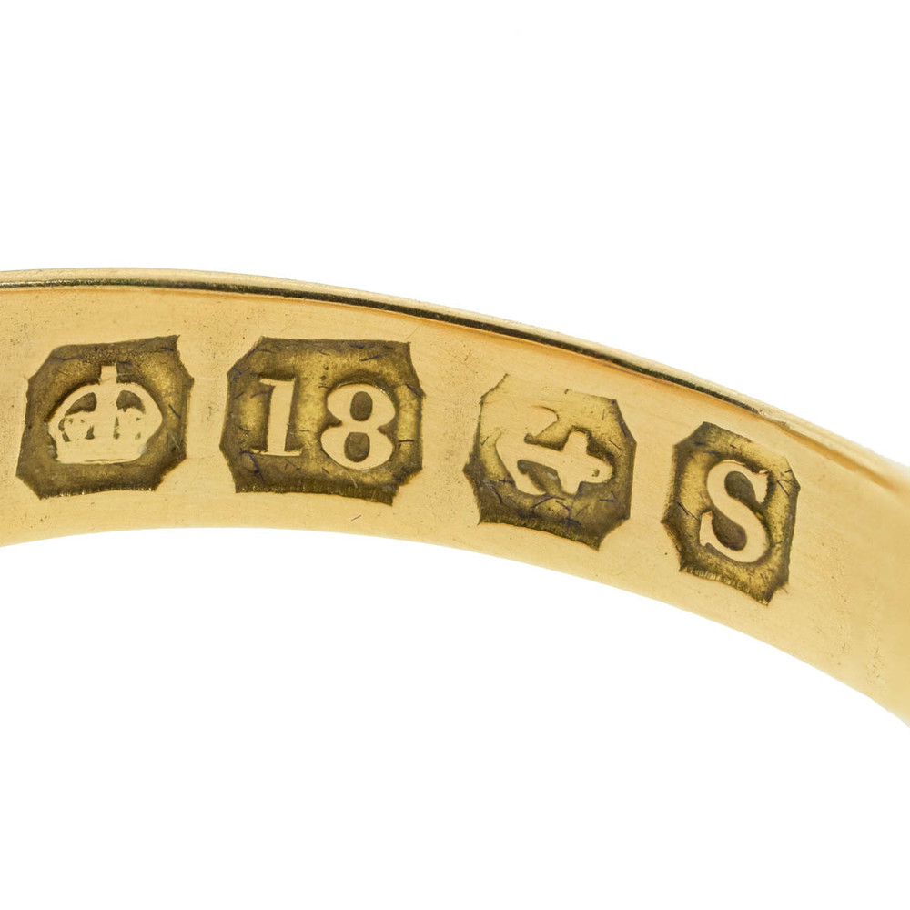 Antique English Hallmarked 18  Ct Gold Ring