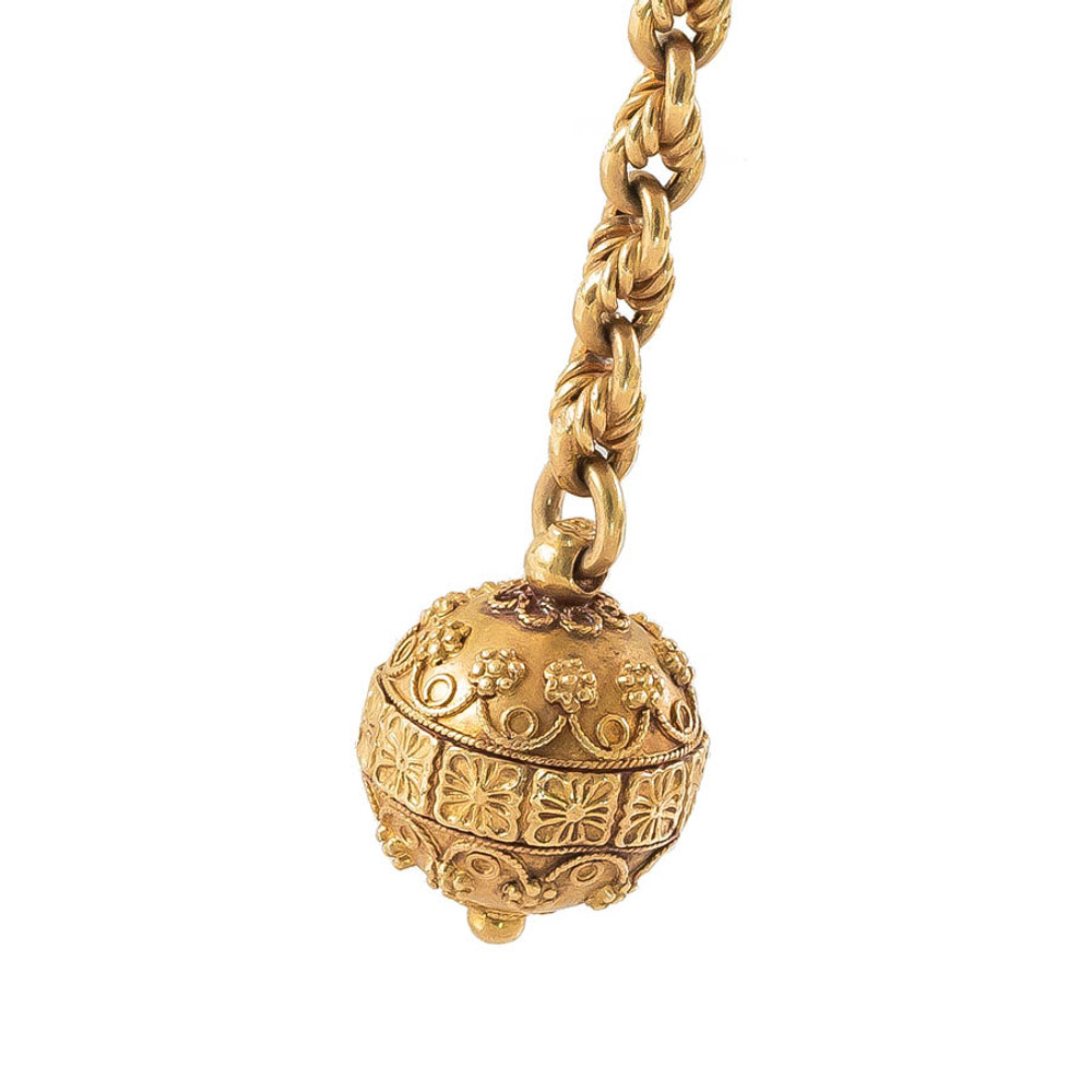 Victorian Gold Ball and Chain Earrings