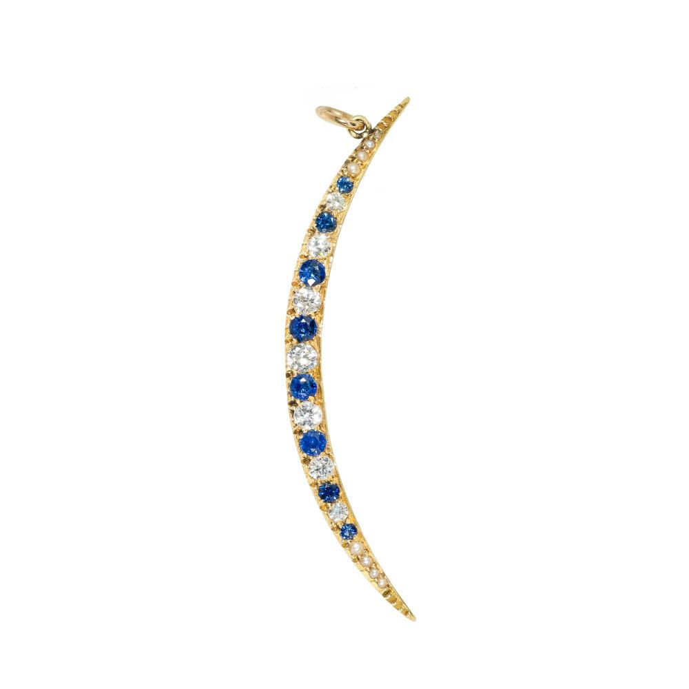 Antique Sapphire & Diamond Crescent Moon Pendant on 14 Ct Gold Chain