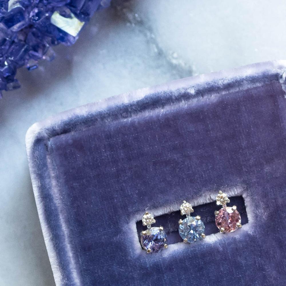 Pink, Blue and Purple Sapphire Diamond Earring Stud Stacking Set