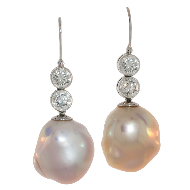 Pink Baroque Pearls and Diamond Dangling Earrings