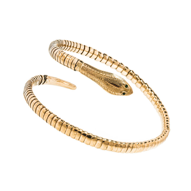 A Gold Snake Armlet Bracelet with Emerald Eyes.