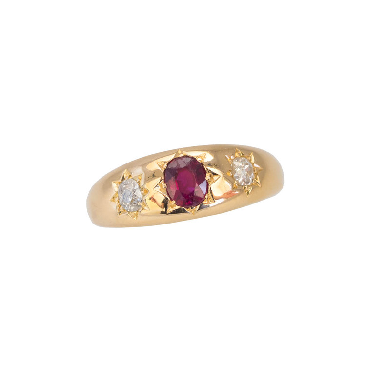 A Victorian Gypsy Set Ruby and Diamond Ring