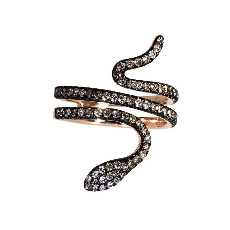 Diamond Snake Ring in Rose Gold