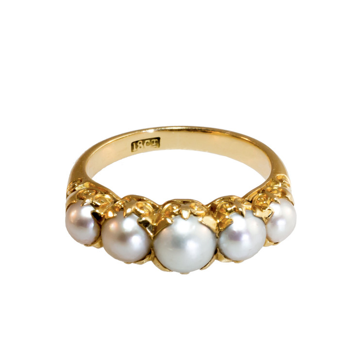 Antique: A Pearl Ring in 18 ct Gold, Half-Hoop Stacker