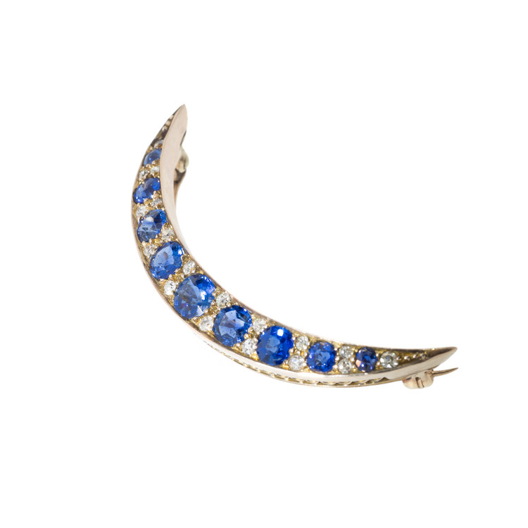 Antique Sapphire and Diamond Brooch