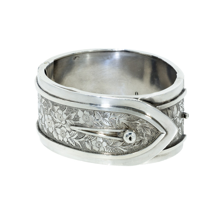 Antique Sterling Silver Button Cuff Bangle