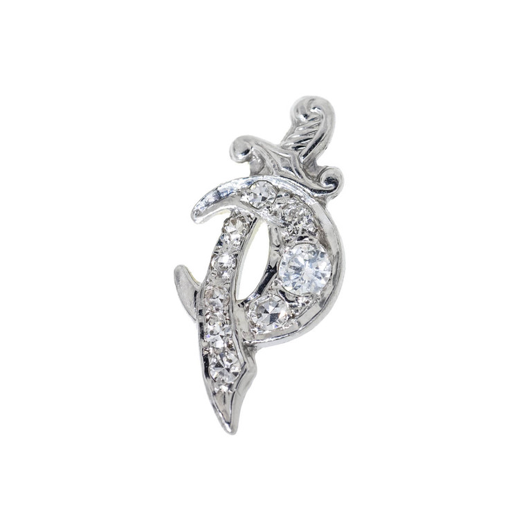 Vintage Diamond Crescent Moon, Single Stud Earring