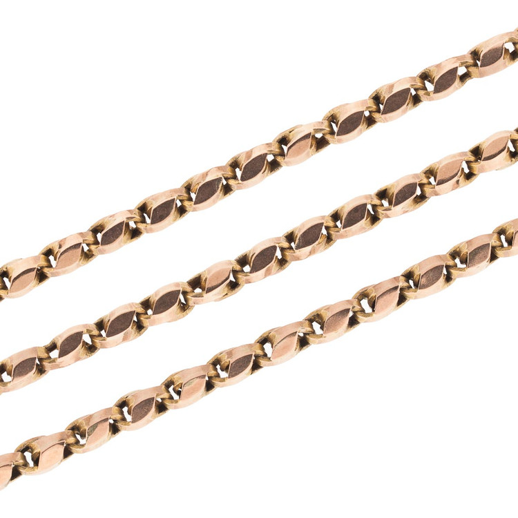 Antique Victorian Long Guard Chain in Rose Gold