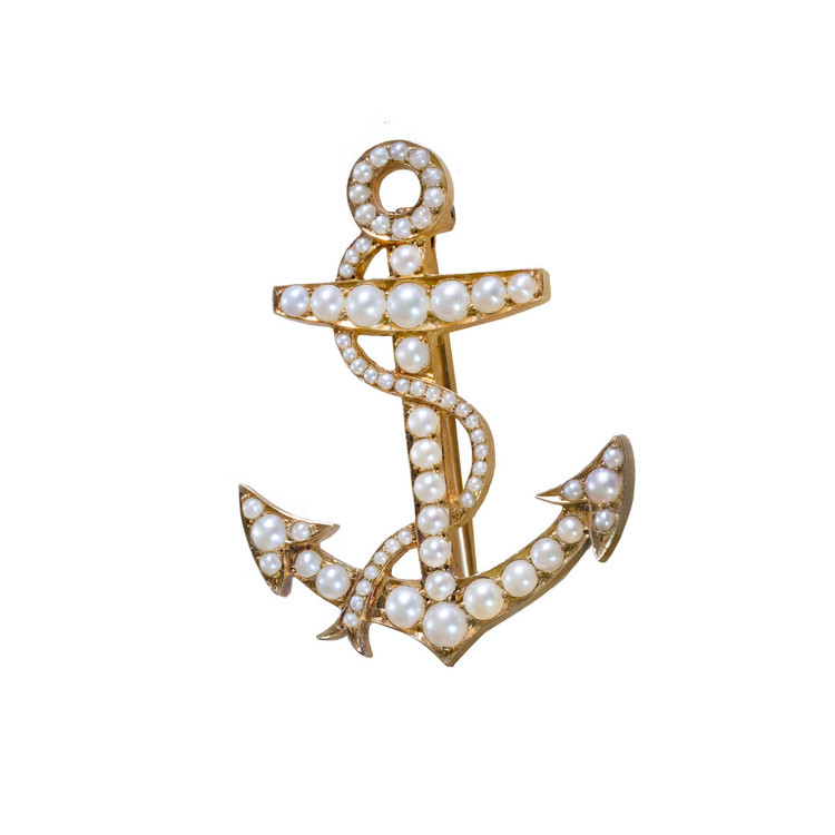 Antique Pearl and Gold Anchor Brooch