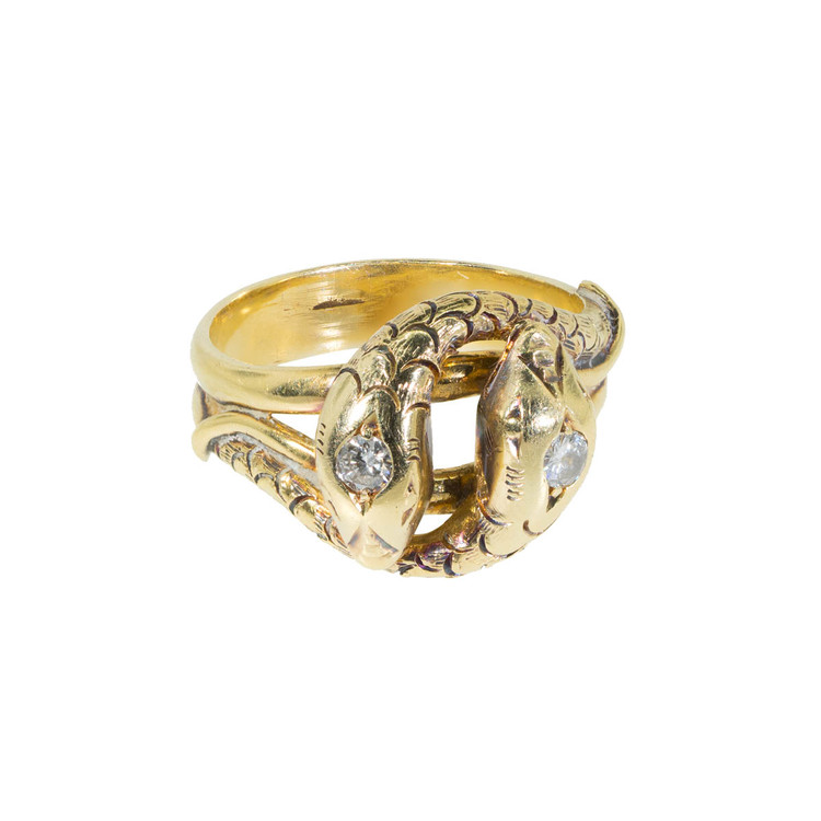 Vintage Gold Double Snake Ring Set with Diamond Ring