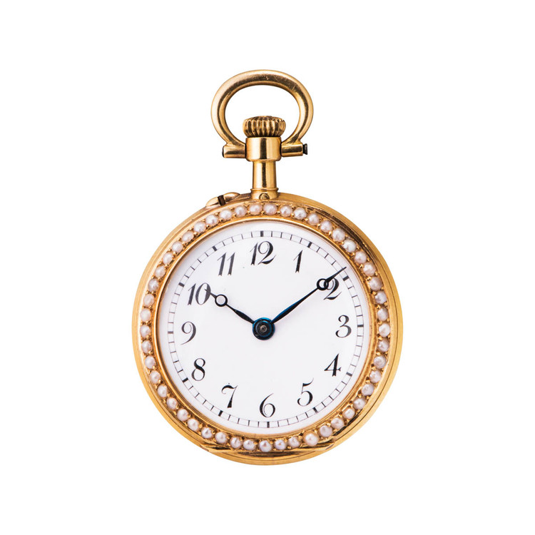 Antique Swiss Pocket Watch in 18 kt Gold Covered in Pearls