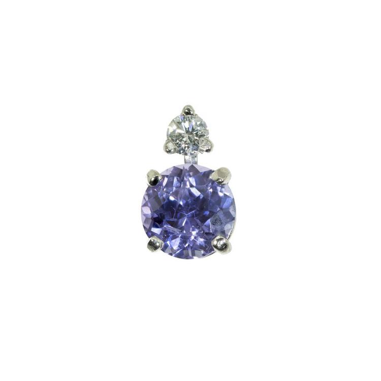 Lavender Purple Sapphire and Diamond Earring Stud