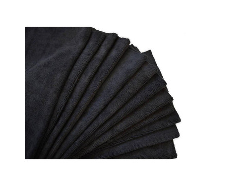 "16""x16"" 20 Pack Ultra Shine Edgeless Microfiber Towels Black"
