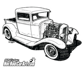 1932 Ford Pickup - ©2015 Ryan Curtis - HotRodCarArt.com