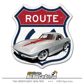 1965 Chevy Corvette on metal Route 66 Sign
