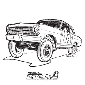 Hot Rod Gasser: automotive clip art illustration - ©2011 Ryan Curtis - HotRodCarArt.com