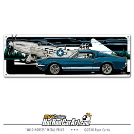 Decorative Metal Sign featuring a P-51 Mustang plane and a 1969 Shelby GT500 Ford Mustang