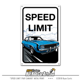 Decorative Metal Sign featuring a 1969 Chevrolet Camaro on a speed limit sign
