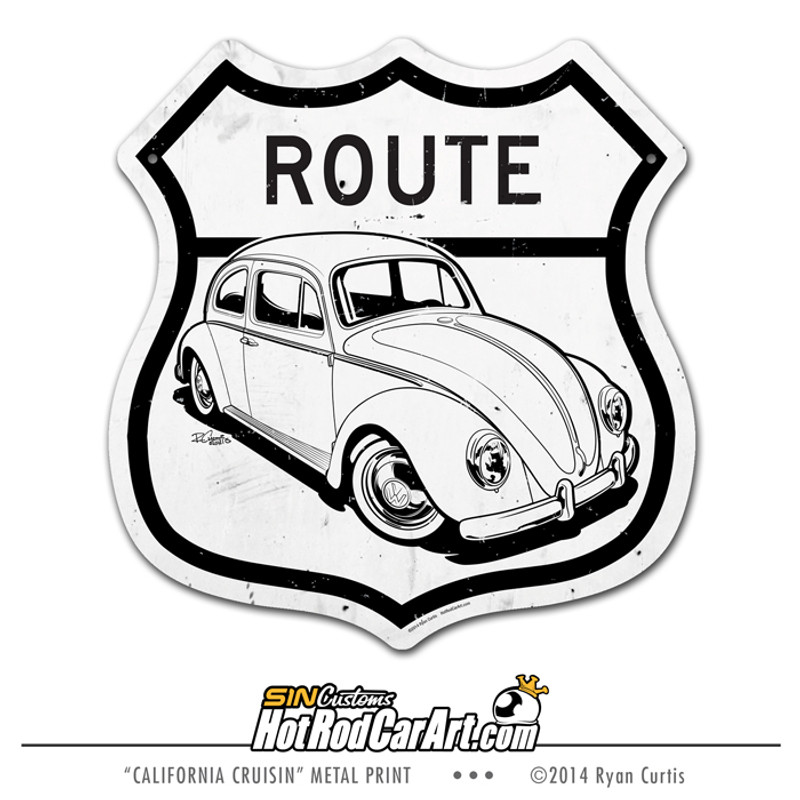 California Cruisin - VW Bug US Route Sign ©Ryan Curtis - SIN Customs HotRodCarArt.com