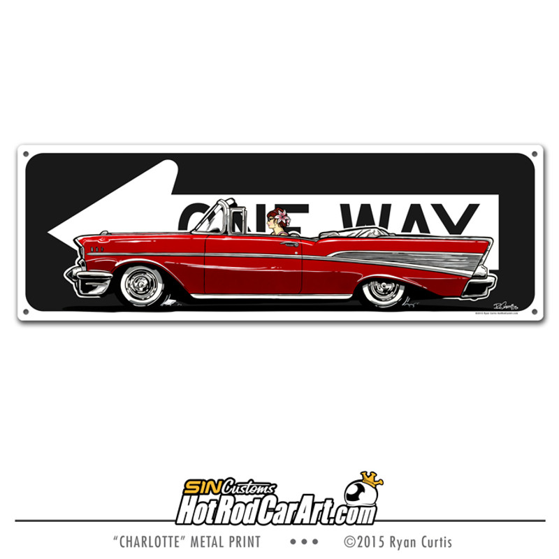 SIN Customs - HotRodCarArt.com metal One Way sign featuring a classic red 1957 Chevrolet Convertible