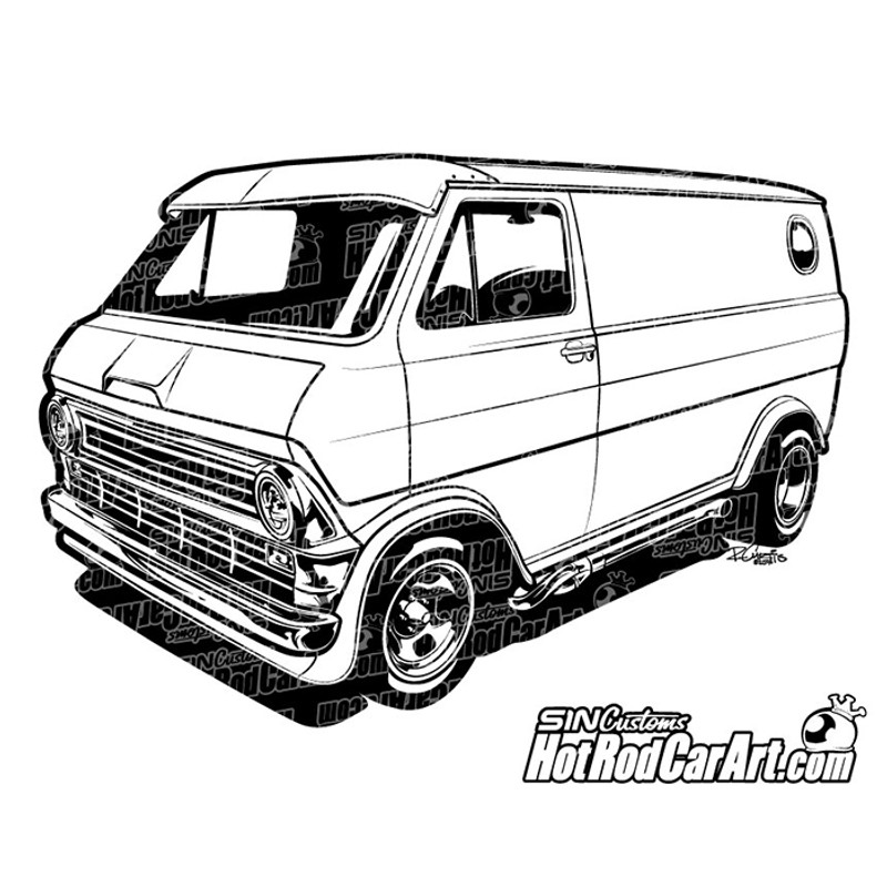 1974 ford econoline van hot rod car art rh hotrodcarart com van clip art free van clip art black and white